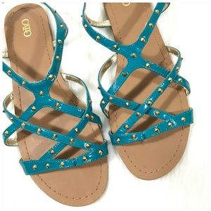 Cato Teal Strappy Sandals with Gold Studs Size 8